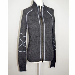Athleta Multicolor Wool Zip Sweater Blue Stitching